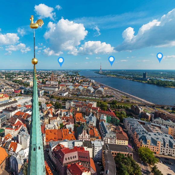 Riga City Aerial 360 degree panorama virtual tour - featured | OCEAN.LV